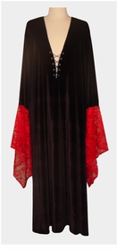Black & Red Gothic Lacey Lace-up Velvet Plus Size Dress or Shirt Supersize Halloween Costume