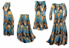 Blue and Yellow Zig Zag Swirls Slinky Print - Plus Size Slinky Dresses Shirts Jackets Pants Palazzo�s & Skirts - Sizes Lg to 9x