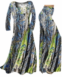 CLEARANCE! Blue & Green Snakeskin Print Slinky Plus Size & Supersize Shirts 0x 2x