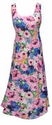 SALE! Blue & Pink Wildflowers Print Princess Cut Slinky Plus Size Tank Dress 4X
