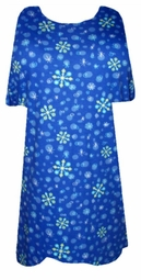 SALE!  Blue Snowflakes Plus Size T-Shirt with Glimmer Snowflakes 2x