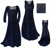 Sale! Blue Streaks Glimmer Slinky Print Plus Size & Supersize A-Line or Princess Cut Dresses & Jackets 0x 4x