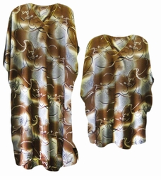 Brown & Silver Abstract Floral Print Poly/Satin Plus Size & Supersize Caftan Dress or Shirt 1x to 6x