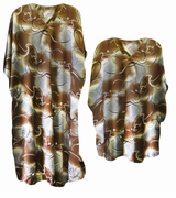 LAST ONE! Brown & Silver Abstract Floral Print Poly/Satin Plus Size & Supersize Caftan Dress or Shirt 1x to 6x