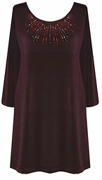 Brown Slinky Rhinestone Plus Size & Supersize Shirts 2x 3x 4x