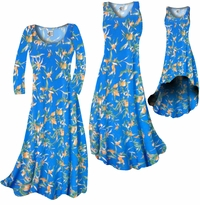 CLEARANCE! Cerulean Blue With Oriental Lily Slinky Print Plus Size A-Line Dresses 0x