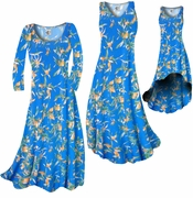 CLEARANCE! Cerulean Blue With Oriental Lily Slinky Print Plus Size A-Line Dresses 0x 2x