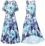 CLEARANCE! Blue Floral With Silver Sparkles Slinky Print Plus Size & Supersize Dress 5x 7x
