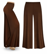 CLEARANCE! Brown Wide Leg Palazzo Pants in Slinky, Velvet or Cotton Fabric - Plus Size & Supersize XL 3x