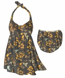 CLEARANCE! Brown With Marigold Flowers & Leaves Halter or Straps Style Plus Size Swimsuit / SwimDress 0x 1x 2x 5x