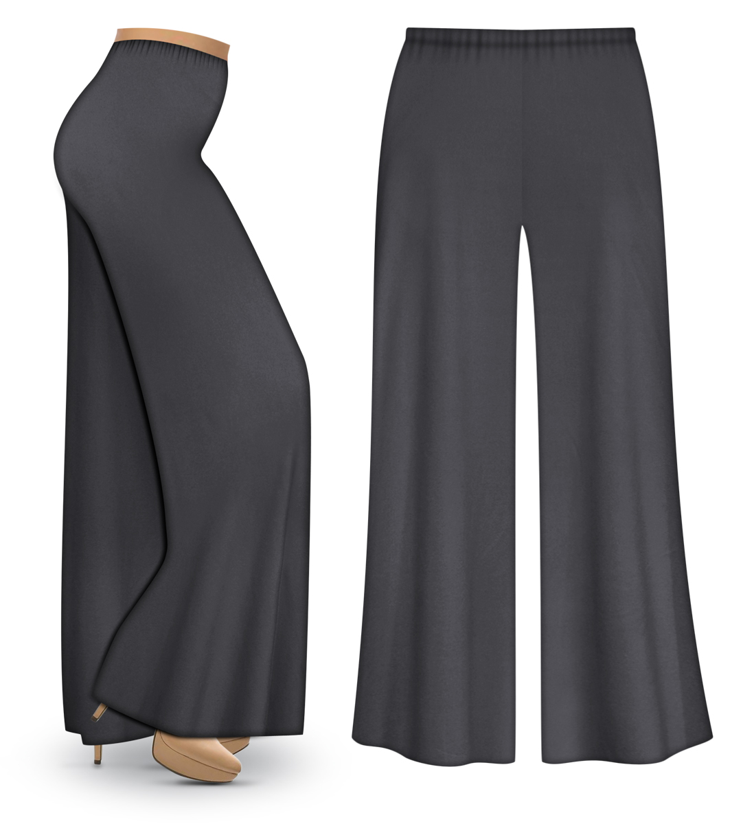 CLEARANCE Dark Gray Wide Leg Palazzo Pants in Slinky Velvet or