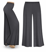 CLEARANCE! Dark Gray Wide Leg Palazzo Pants in Slinky, Velvet or Cotton Fabric - Plus Size & Supersize XL
