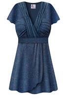 CLEARANCE! Embossed Blue Glitter Slinky MAGIC BABYDOLL Top In Plus Size & Supersize LG 1x 2x