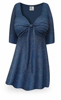 CLEARANCE! Embossed Blue Glitter Slinky Tie Babydoll Shirt Plus Size & Supersize XL