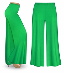 CLEARANCE! Grass Green Wide Leg Palazzo Pants in Slinky, Velvet or Cotton Fabric - Plus Size & Supersize XL 6x
