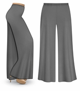 CLEARANCE! Gray Wide Leg Palazzo Pants in Slinky, Velvet or Cotton Fabric - Plus Size & Supersize LG XL 2x