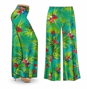 CLEARANCE! Green Orchid Slinky Print Plus Size & Supersize Palazzo Pants 3x 5x