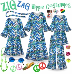 CLEARANCE! Hippie Plus Size Halloween Costume and Accessories! Groovy Zigzag Plus Size & SuperSize 60's Style Retro Dress or Top & Pants 0x 2x