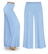 CLEARANCE! Light Blue Wide Leg Palazzo Pants in Slinky, Velvet or Cotton Fabric - Plus Size & Supersize LG 0x