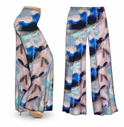 CLEARANCE! Natural Dry Brush/Cobalt Blue and Light Mauve Slinky Print Plus Size & Supersize Palazzo Pants XL 3x