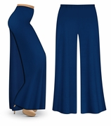 CLEARANCE! Navy Wide Leg Palazzo Pants in Slinky, Velvet or Cotton Fabric - Plus Size & Supersize XL 0x 1x 2x
