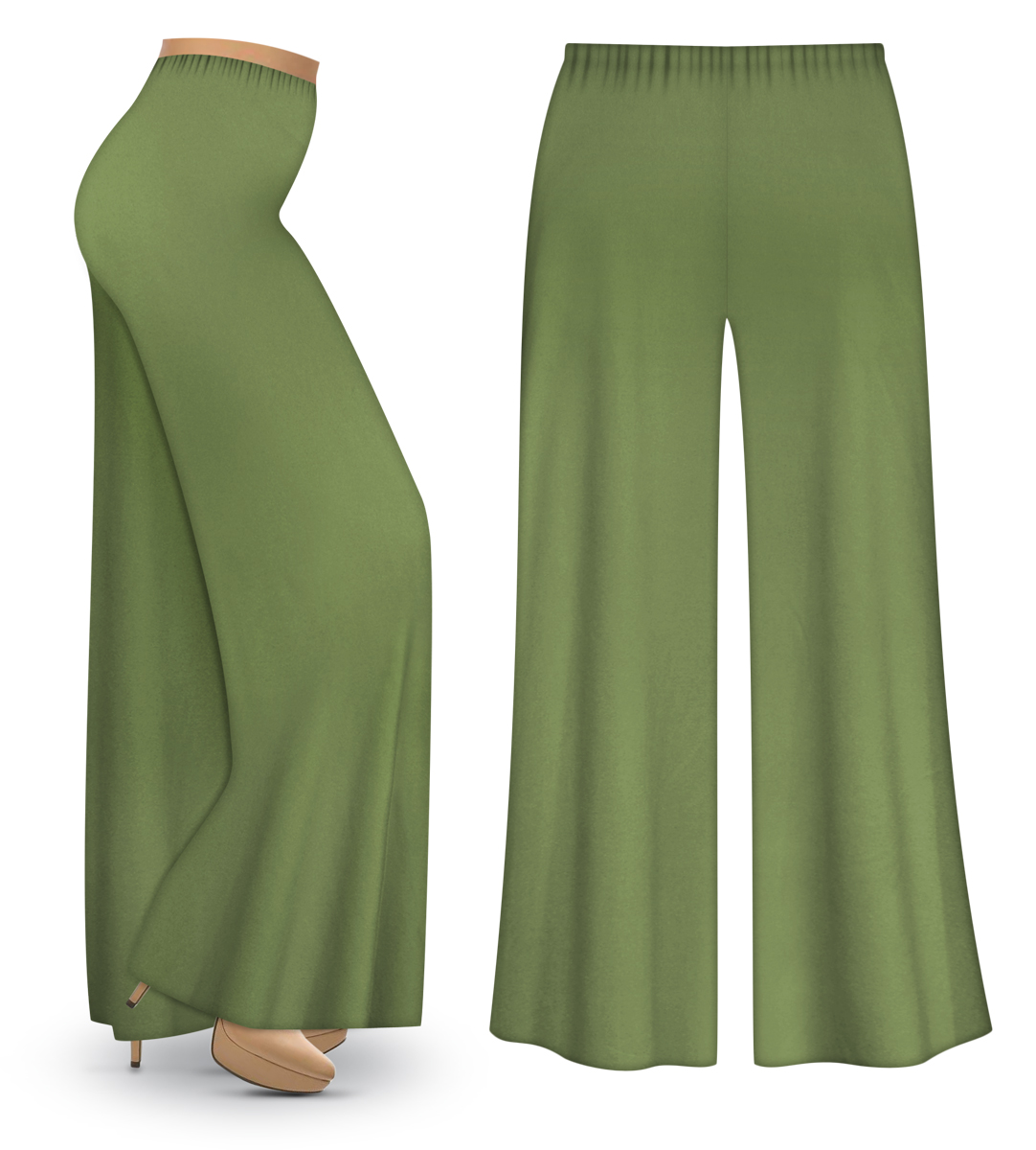 CLEARANCE! Olive Green Wide Leg Palazzo Pants in Slinky, Velvet or ...