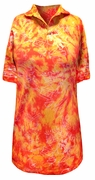 CLEARANCE! Orange and Red Tie Dye Jazzy Metallic Print Plus Size Short Sleeve Polo Shirt 3xl