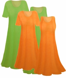 SALE! Orange or Green Solid Slinky Dresses - Tops & Skirts! Plus Size & Supersize 0x 1x 2x 3x 4x 5x 6x 7x 8x