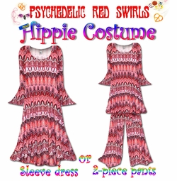 CLEARANCE! Hippie Plus Size Costume and Accessories! Plus Size & Supersize Psychedelic Red Swirl 60�s Style Retro Dress Halloween Costume Kit 2x