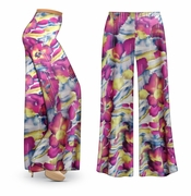CLEARANCE! Purple & Lime Floral With Sparkles Slinky Print Plus Size & Supersize Palazzo Pants 4x 7x