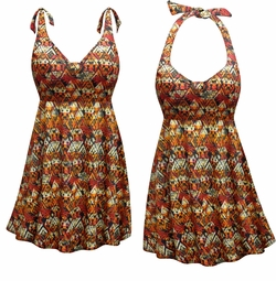CLEARANCE! Sedona Print Halter or Straps Style Plus Size Swimsuit / SwimDress 9x