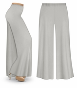 CLEARANCE! Silver Gray Wide Leg Palazzo Pants in Slinky, Velvet or Cotton Fabric - Plus Size & Supersize XL 1x 3x
