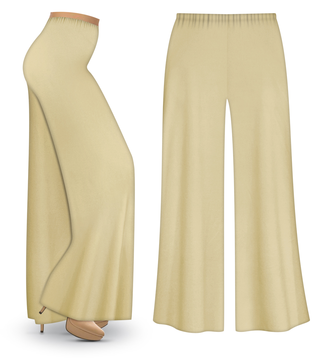 Clearance Tan Or Cream Wide Leg Palazzo Pants In Slinky