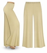 CLEARANCE! Tan or Cream Wide Leg Palazzo Pants in Slinky, Velvet or Cotton Fabric - Plus Size & Supersize 2x