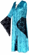 SALE!  CLEARANCE! Turquoise Velvet with Black Lace Gothic Lace-Up Plus Size Witch Dress 1x 2x 3x