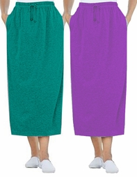SALE! Grape Purple or Royal Jade Green Sport Knit Plus Size Skirt 3x 6x