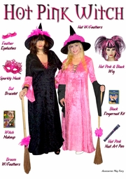 SALE! Hot Pink Witch + Add Accessories Plus Size Supersize Halloween Costume Kit M-XL & 1x 2x 3x 4x 5x 6x 7x 8x 9x