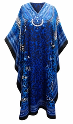 SOLD OUT! SALE! Customizable Blue Animal Print Long Plus Size Caftan Dress or Shirt 1x-6x