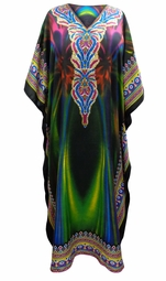 SALE! Customizable Arctic Lights Print Long Plus Size Caftan Dress or Shirt 1x-6x