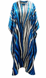 SALE! Customizable Blue River Print Long Plus Size Satiny Caftan Dress or Shirt 1x-6x