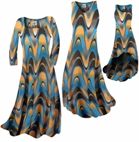 Customizable Blue and Yellow Zig Zag Swirls Print Slinky Plus Size & Supersize Standard or Cascading A-Line or Princess Cut Dresses & Shirts, Jackets, Pants, Palazzo's or Skirts Lg to 9x