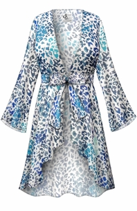 NEW! Customizable Blue Animal Print Sheer Blouse Swimsuit Coverup Plus Size & Supersize LG XL 0x 1x 2x 3x 4x 5x 6x 7x 8x