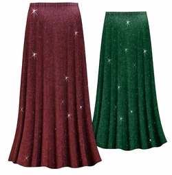 Customizable Green or Burgundy With Glittery Gold Dots Slinky Print Plus Size & Supersize Skirts - Sizes Lg XL 1x 2x 3x 4x 5x 6x 7x 8x 9x
