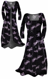 Customizable! New! Beautiful Sparkly Black & Lavender Glittery Butterfly Smooth Velvet Plus Size & Supersize Standard or Cascading A-Line or Princess Cut Dresses & Shirts, Jackets, Pants, Palazzo's or Skirts Lg to 9x
