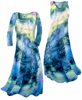 SALE!!!! New! Dark Blue & Peach Tye Dye Print Slinky Plus Size & Supersize Standard or Cascading A-Line or Princess Cut Dresses