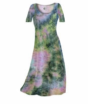 SALE! Dark Blue & Peach Tye Dye Print Slinky Plus Size & Supersize A-Line Dresses 0x