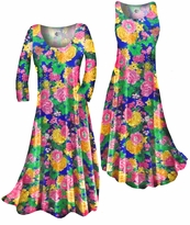 Customizable Pretty Colorful Floral Slinky Print Plus Size & Supersize Standard or Cascading A-Line or Princess Cut Dresses & Shirts, Jackets, Pants, Palazzo's or Skirts Lg to 9x