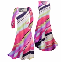 Customizable! New! Pretty Pink Black & White Swirls Print Slinky Plus Size & Supersize Standard or Cascading A-Line or Princess Cut Dresses & Shirts, Jackets, Pants, Palazzo's or Skirts Lg to 9x