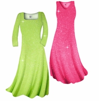 Customizable! New! Pretty Pink or Lime Green Sparkle Glimmer Slinky Plus Size & Supersize Standard or Cascading A-Line or Princess Cut Dresses & Shirts, Jackets, Pants, Palazzo's or Skirts Lg to 9x