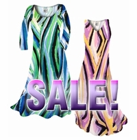 SALE! Green or Purple Print Slinky Plus Size & Supersize Standard or Cascading A-Line or Princess Cut Dresses & Shirts, Jackets, Pants, Palazzo's or Skirts Lg to 6x